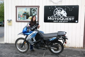 Brilliant Chrissy from MotoQuest, who would like to point out this is not her bike!