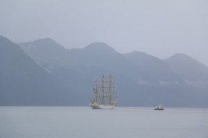 Mexican tall ship leaving Seward